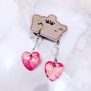 Pink Plastic Heart Earrings Bling